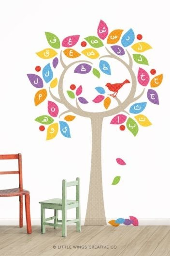 Arabic Alphabet Tree Islamic Wall Sticker Decal Rainbow
