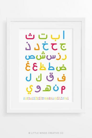 Rainbow Arabic Alphabet Art Print