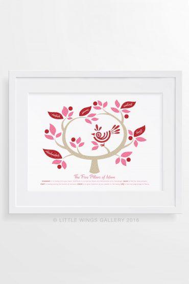 Five-Pillars-Tree-Pink-Islamic-Art-Print