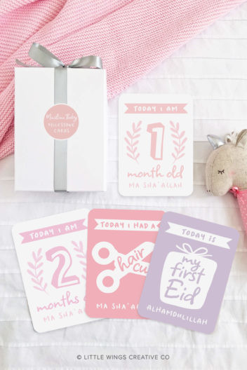 Muslim Baby Girl Milestone Cards (Illustrated)