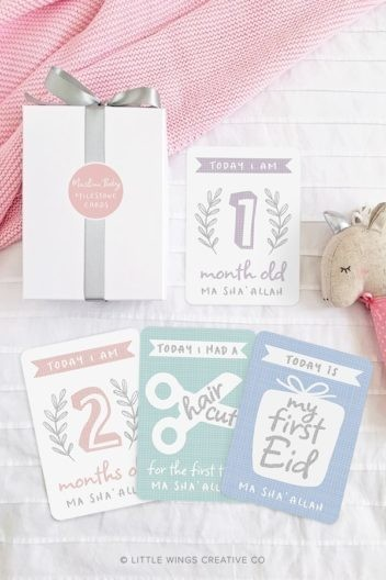 Baby Milestone Cards (Pastel) Islamic Baby Gift