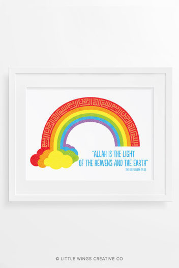 Rainbow Bismillah Islamic Art Print